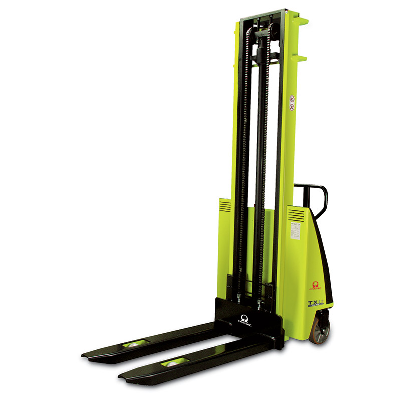 This is an example of a large, yellow electric pallet lift.